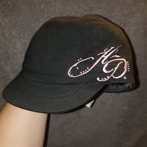 Harley davidson black hat pink rhinestone